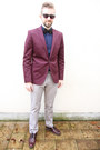 Crimson-cos-shoes-maroon-h-m-blazer-navy-matinique-shirt