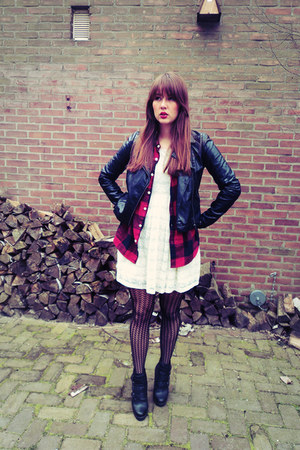 ivory lace H&M dress - black Vero Moda jacket - black lace H&M tights