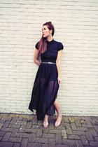 Primark skirt - Primark belt - H&M blouse - gold-mint Primark earrings