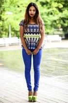 blue Bershka jeans - Primark top - chartreuse Christian Louboutin pumps