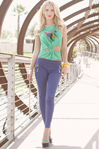 top - uptown leggings - bag - wedges - cool color bracelet - praising sun ring