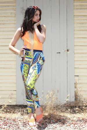 orange UrbanOG bodysuit - gold UrbanOG bracelet - blue UrbanOG pants