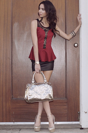 vivacious top - bag - riot action skirt - luminous wedges - royal treasure watch