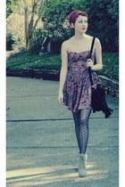 Kimichi Blue dress - ecote boots - vintage silk scarf scarf - ecote bag