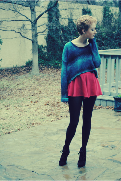 blue ecote sweater - black Steve Madden boots - black Urban Outfitters tights