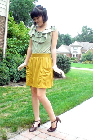 my mums romper shirt - American Apparel skirt - Salvation Army shoes - Etsy glov