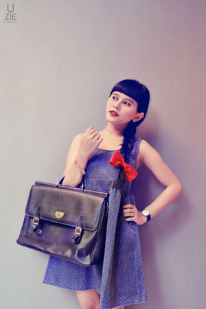 black mellow bag - navy polka dot dress - red DIY tie - My Brother Give watch