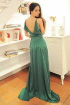 teal silk Boret dress