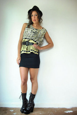 gold vintage from VIRAL THREADS blouse - black vintage dress - black vintage boo