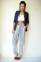 stripe vintage pants - Tahari blazer - crop free people blouse
