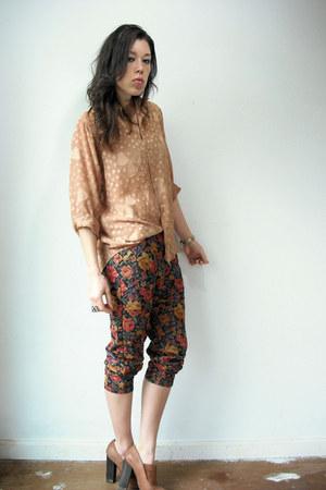 Viral Threads pants - tan burnout vintage blouse - tan Topshop heels - red cardi
