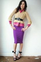 camel vintage blouse - pink vintage blouse - purple dress - black Fornarina wedg