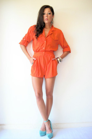 orange military vintage romper - Jeffrey Campbell wedges
