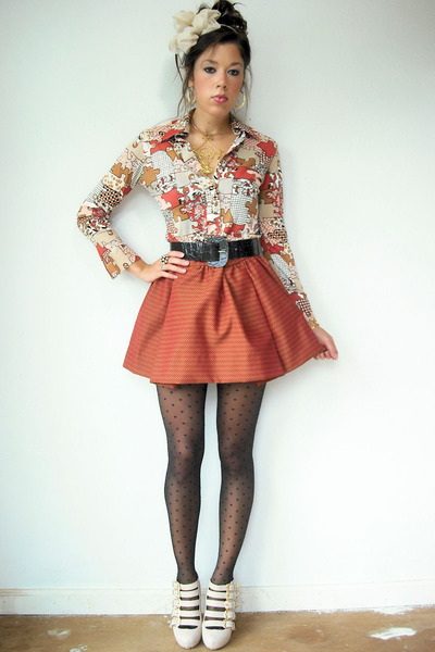 tan vintage blouse - black heart asos tights