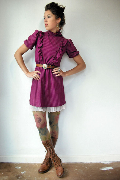 purple vintage dress - pink vintage intimate - Anthropologie tights - brown Dr M