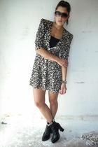 vintage dress - black diy studded boots - vintage earrings