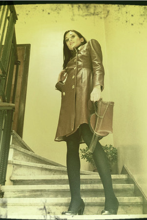 brown leather Callisti coat - brown leather Callisti bag