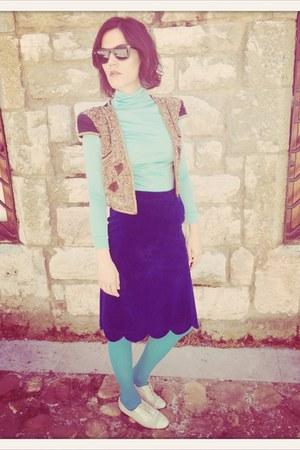 aquamarine cotton VIRVIN jumper - blue VIRVIN skirt - navy Zara vest