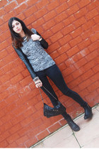 black iron fist bag - black skinny asos pants - gray leather sleeves asos jumper