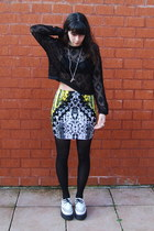 yellow Motel Rocks skirt - white TUK shoes - black vintage jacket