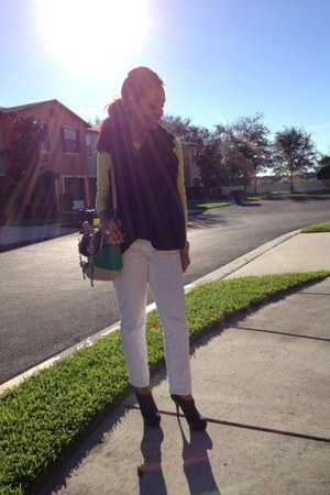 white Ralph Lauren jeans - melie bianco bag - knit lime green cotton on top
