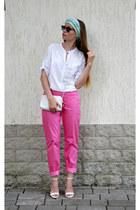 white Incity blouse - desert bag - Ebay sunglasses - white Zara heels