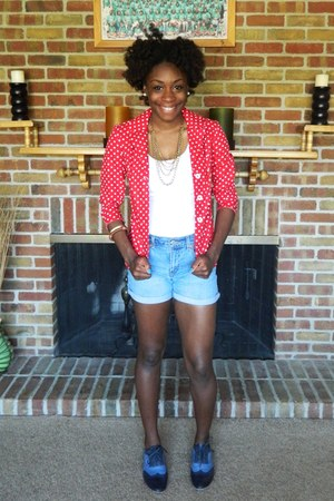 blue TJ Maxx shoes - red thrifted blazer - white Forever 21 t-shirt