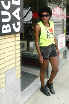 black thrifted shorts - black thrifted boots - lime green shirt