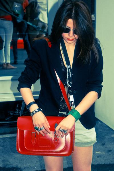 green green YSL ring - black Zara blazer - red red Cambridge Satchel Bag bag