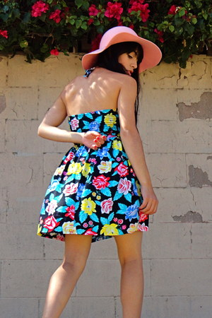 aquamarine floral unknown brand dress - pink floppy hat unknown brand hat
