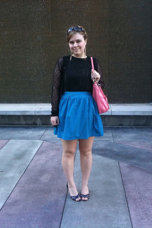 black Alberta Ferretti shirt - blue Kimchi Blue skirt - blue Manolo Blahnik shoe