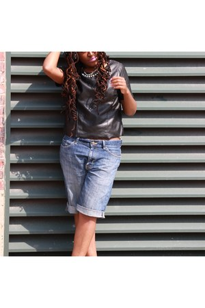 H&M shirt - diy jean shorts Express shorts - burgundy Zara pumps