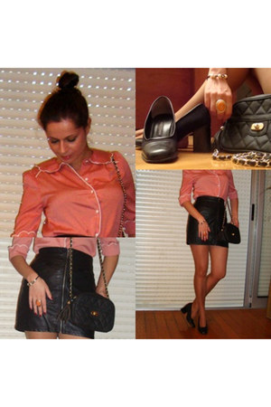 black black shoes shoes - black blanco bag - black skirt hm skirt
