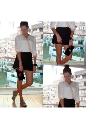 black black skirt skirt - camel oxford shoes shoes - neutral blouse hm blouse