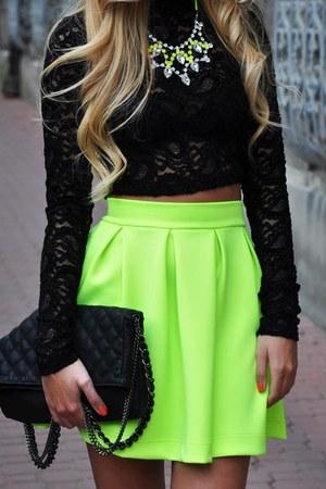 chartreuse asos skirt - black bag - black Zara top