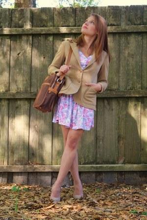 vintage dress - vintage blazer - laptop bag vintage bag - Forever 21 heels