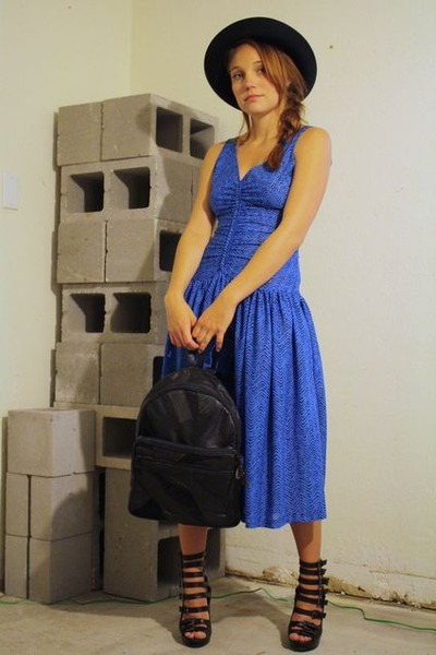 blue vintage dress - black wide brim hat vintage hat - black vintage bag - black