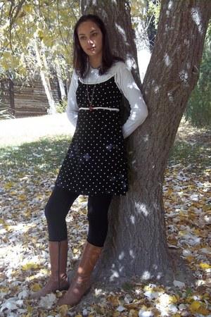 boots - polkadot dress