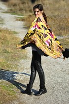biker Zara boots - Mary Katrantzou scarf - leather asos pants