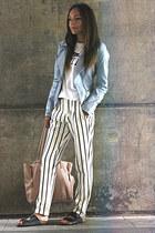 periwinkle Primark jacket - ivory Zara pants - black poolslides Topshop sandals