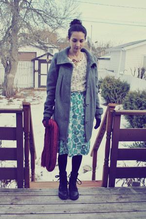 heather gray Esprit coat - ivory Yesstyle shirt - self-made skirt
