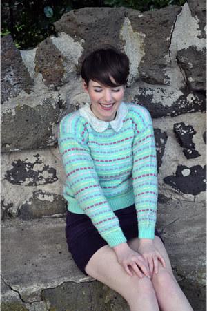 pastels vintage jumper - vintage blouse - suede vintage skirt