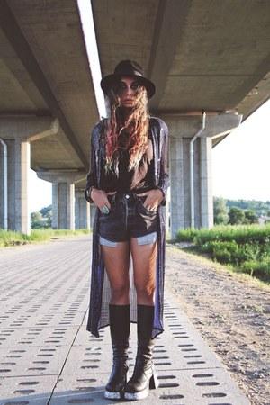 vintage hat - platform boots - beaded Frank Usher jacket - Levis shorts