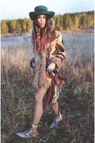 fur patchwork Forever 21 jacket - vintage floral Dr Martens boots