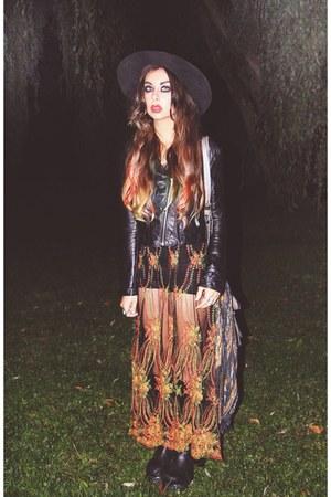 platforms vintage boots - sheer crochet vintage dress - poppy Catarzi hat
