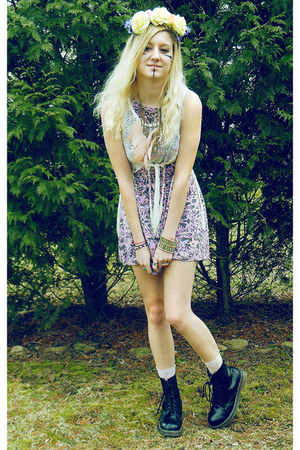 peach necklace - black Dr Martens boots - pink dress - ivory vest