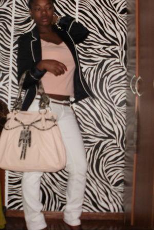 pink shirt - Zara blazer - white pants - pink bag
