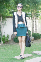 turquoise blue skirt - shoes - blazer - bag - black top - glasses