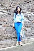 bag - jeans - blouse - wedges