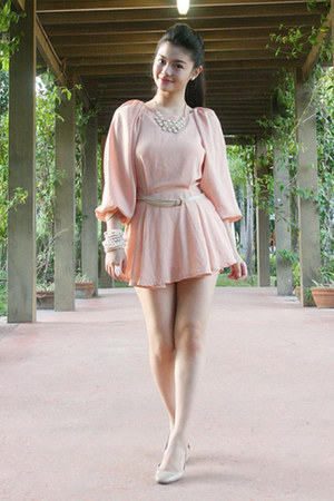necklace - light pink dress - bracelet - earrings - white flats
